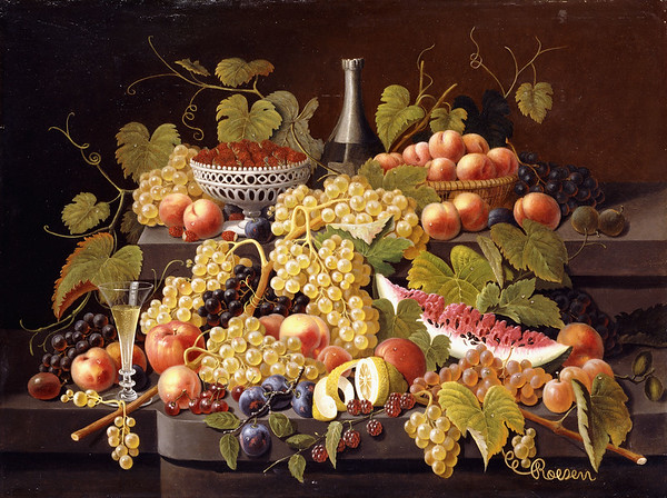 Still Life with Fruit and Champagne. Severin Roesen (ca.1815-1872). Oil on canvas. 76.2 x 101cm.