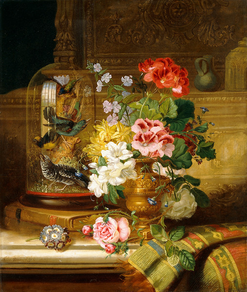 A Vase of Assorted Flowers and Songbirds on a Ledge. William John Wainwright (1855-1931). Oil on canvas. Painted in 1867. 66.7 x 56.2cm.
