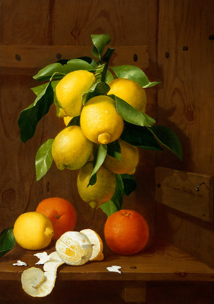 1863 --- A Still Life of Lemons and Oranges by Antonio Mensaque --- Image by © Fine Art Photographic Library/Corbis