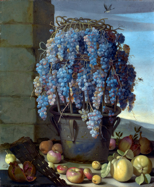 Luca Forte (Italian, c. 1610- 1670), Still Life with Grapes and other Fruit, 1630s, oil on copper, 31.4 x 25.9 cm (12 3/8 x 10 3/16 in.), J. Paul Getty Museum, Los Angeles. --- Image by © Corbis