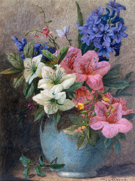 19th century --- A Vase of Azaleas and Hyacinth by Charles Henry Slater --- Image by © Fine Art Photographic Library/Corbis