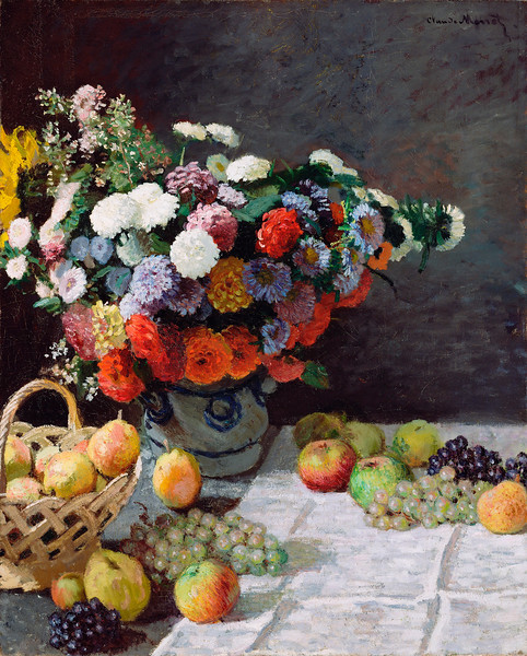 Claude Monet (French, 1840 - 1926), Still Life with Flowers and Fruit, 1869, oil on canvas, 100.3 x 81.3 cm (39.5 x 32 in), J. Paul Getty Museum, Malibu, California. --- Image by © Corbis