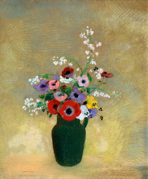 Odilon Redon (French, 1840–1916), Large Green Vase with Mixed Flowers, 1910-12, pastel on paper, 74.3 x 62.2 cm (29.3 x 24.5 in), Museum of Fine Arts, Boston --- Image by © Corbis
