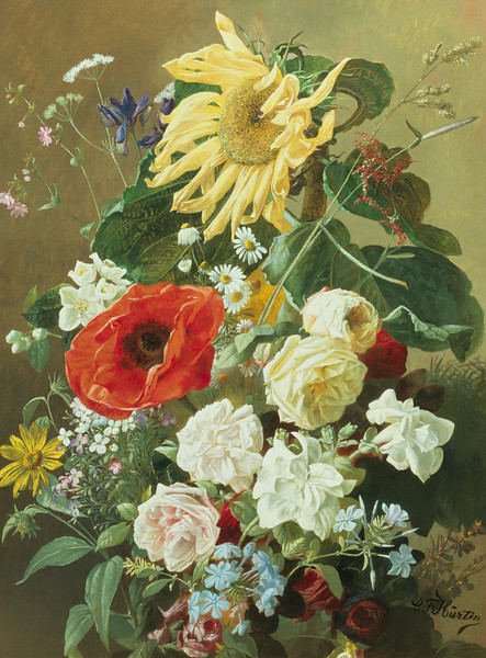 19th century --- A Rich Still Life with Sunflower and Roses by C.F. Hurten --- Image by © Fine Art Photographic Library/Corbis