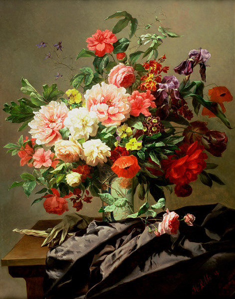 1849 --- Peonies, Poppies and Roses by Henri Robbe --- Image by © The Gallery Collection/Corbis