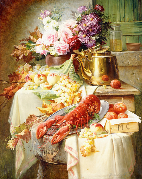Still Life with a Lobster and Assorted Fruit and Flowers. Modeste Carlier (1820-1878). Oil on canvas. 99.7 x 80cm.