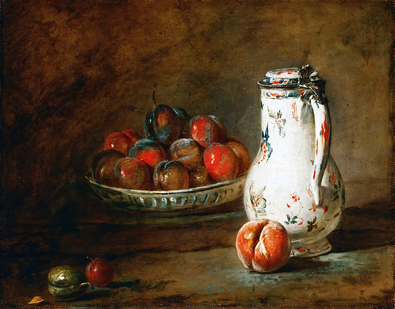 Jean-Baptiste Simeon Chardin (French, 1699-1779), A Bowl of Plums, c. 1728, oil on canvas, The Phillips Collection, Washington, D.C. --- Image by © Corbis