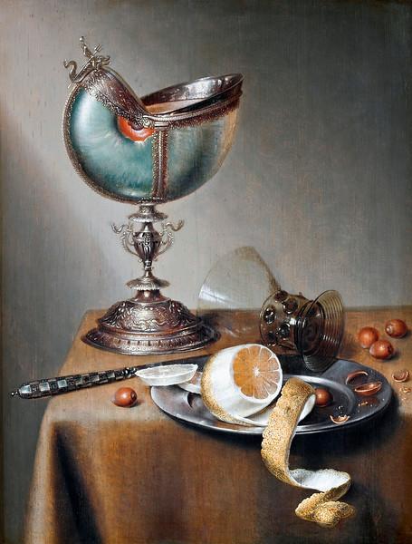 Marten Boelema de Stomme (Dutch, 1611-1664), Still-Life with Nautilus Cup, oil on panel, 50x 38 cm (19.6 x 14.9 in), Hallwyl Museum, Hamngatan, Sweden. --- Image by © Corbis