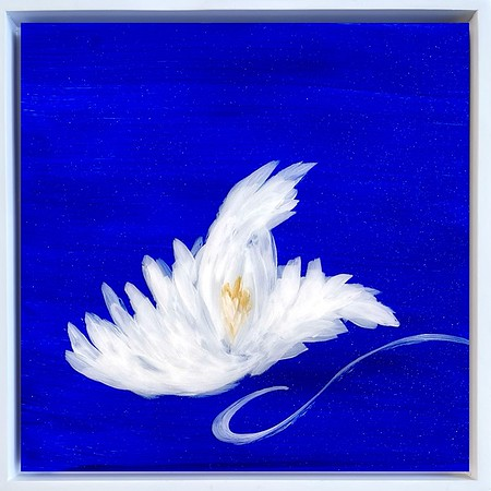 """The Blue Garden, Lily III; 8"""" x 8"""" plus white float frame"""