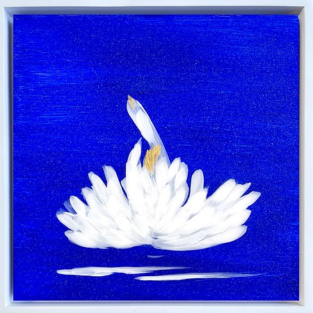 """The Blue Garden, Lily II; 8""""x8"""" plus white float frame"""