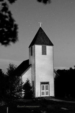 night exposure; painted church with flashlite