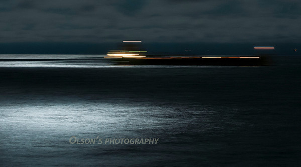 boat at night in lake superior