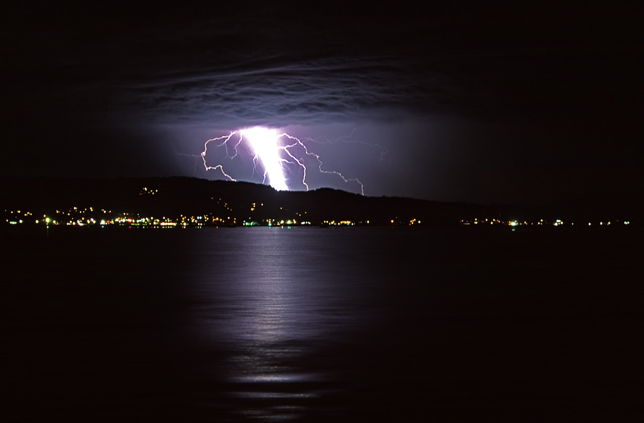 """Lightning Bolt over Princeton Harbor<br /> Princeton by the Sea, California<br /> By Brett Downen<br /> <br /> Float Mounted MetalPrint<br /> Available sizes: 4"""" x 6"""", 8"""" x 12"""", 16"""" x 24"""". 24"""" x 36"""""""