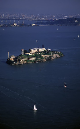 "Alcatraz Aerial View San Francisco, California By Brett Downen  Float Mounted MetalPrint Available sizes: 4"" x 6"", 8"" x 12"", 16"" x 24"". 24"" x 36"""