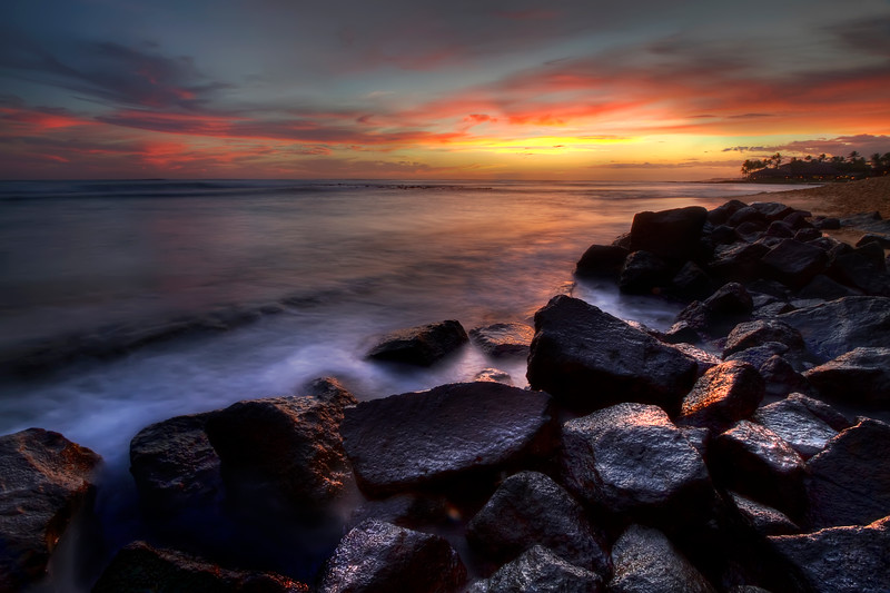 "Sunset at Kiahuna Plantation #2<br /> Poipu Beach, Kauai, Hawaii<br /> By Brett Downen<br /> <br /> Float Mounted MetalPrint<br /> Available sizes: 4"" x 6"", 8"" x 12"", 16"" x 24"". 24"" x 36"""