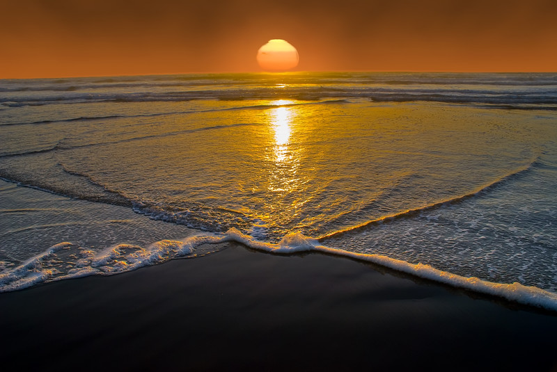 """Currents in the Sunset<br /> Cannon Beach, Oregon<br /> By Brett Downen<br /> <br /> Float Mounted MetalPrint<br /> Available sizes: 4"""" x 6"""", 8"""" x 12"""", 16"""" x 24"""". 24"""" x 36"""""""
