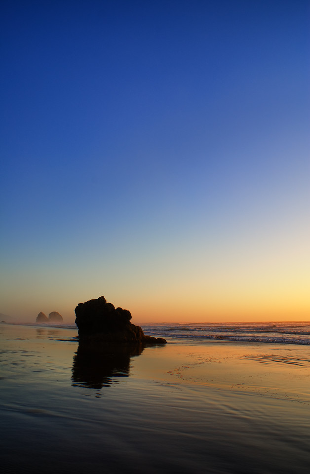 """Atypical Sunset on the Oregon Coast<br /> Cannon Beach, Oregon<br /> By Brett Downen<br /> <br /> Float Mounted MetalPrint<br /> Available sizes: 4"""" x 6"""", 8"""" x 12"""", 16"""" x 24"""". 24"""" x 36"""""""