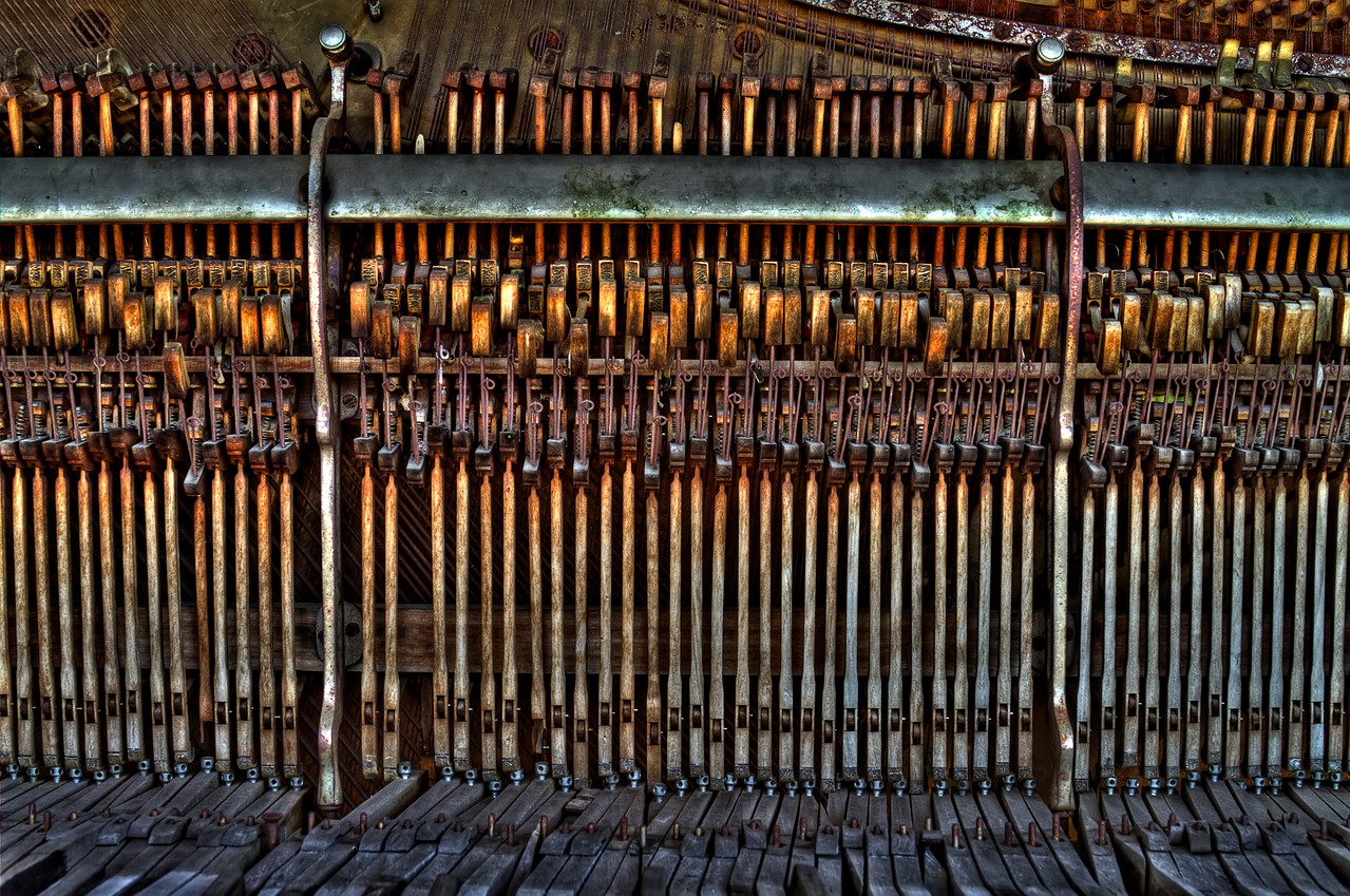 "Antique Piano <br /> Shaniko, Oregon<br /> By Brett Downen<br /> <br /> Float Mounted MetalPrint<br /> Available sizes: 4"" x 6"", 8"" x 12"", 16"" x 24"". 24"" x 36"""