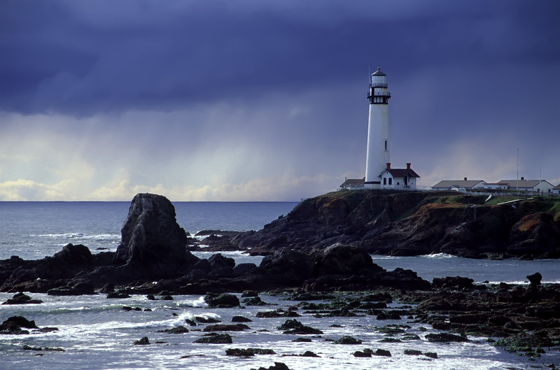 "Pigeon Point Lighthouse and an oncoming deluge. <br /> Pescadero, California<br /> Digitized image originally captured on Fujichrome Velvia.<br /> By Brett Downen<br /> <br /> Float Mounted MetalPrint<br /> Available sizes: 4"" x 6"", 8"" x 12"", 16"" x 24"". 24"" x 36"""