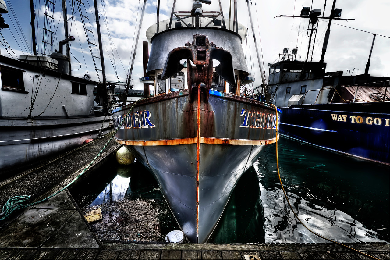 "Thunder the Boat. <br /> HDR in the harbor of Newport, Oregon<br /> By Brett Downen<br /> <br /> Float Mounted MetalPrint<br /> Available sizes: 4"" x 6"", 8"" x 12"", 16"" x 24"". 24"" x 36"""