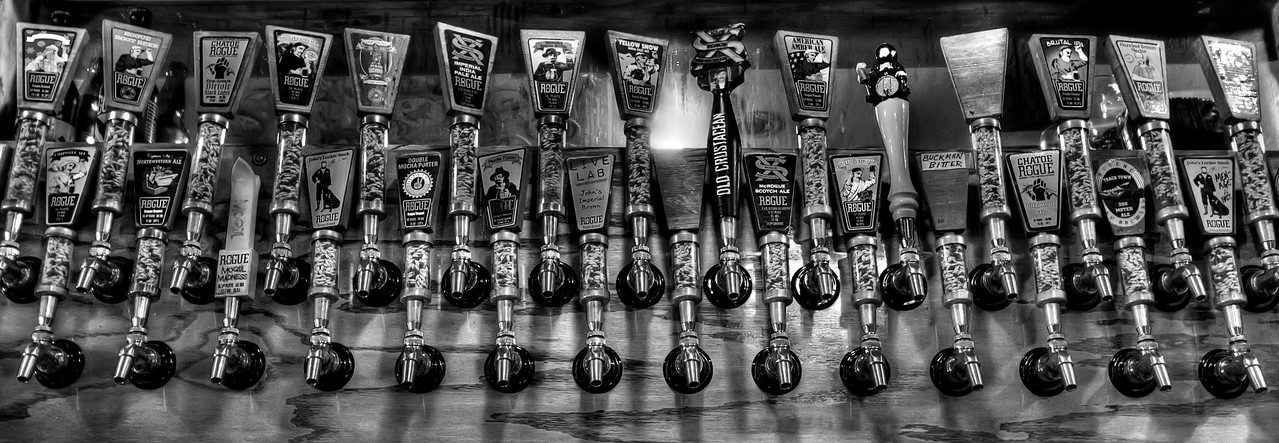 """The taps at Rogue Brewery, Newport, Oregon.<br /> By Brett Downen<br /> <br /> Float Mounted MetalPrint<br /> Available sizes: 4"""" x 6"""", 8"""" x 12"""", 16"""" x 24"""". 24"""" x 36"""""""