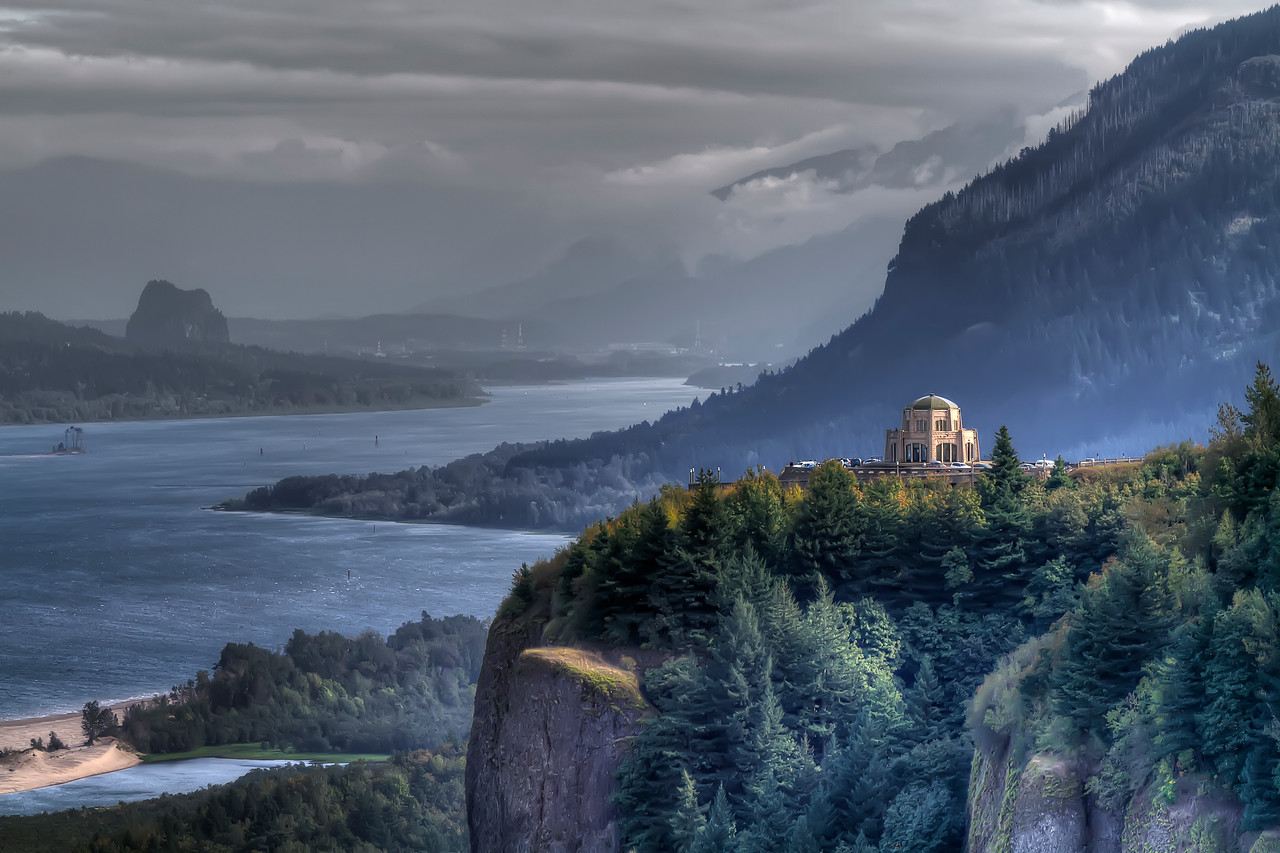 "Vista House. The entrance to The Gorge just east of downtown Portland, Oregon.<br /> By Brett Downen<br /> <br /> Float Mounted MetalPrint<br /> Available sizes: 4"" x 6"", 8"" x 12"", 16"" x 24"". 24"" x 36"""
