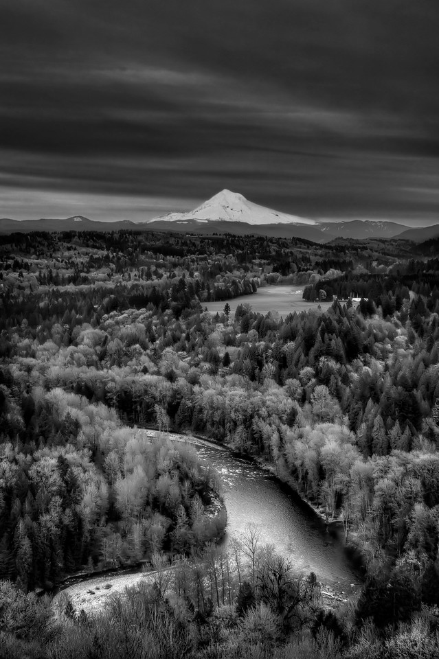 """Mt. Hood and the Sandy River below.<br /> By Brett Downen<br /> <br /> Float Mounted MetalPrint<br /> Available sizes: 4"""" x 6"""", 8"""" x 12"""", 16"""" x 24"""". 24"""" x 36"""""""