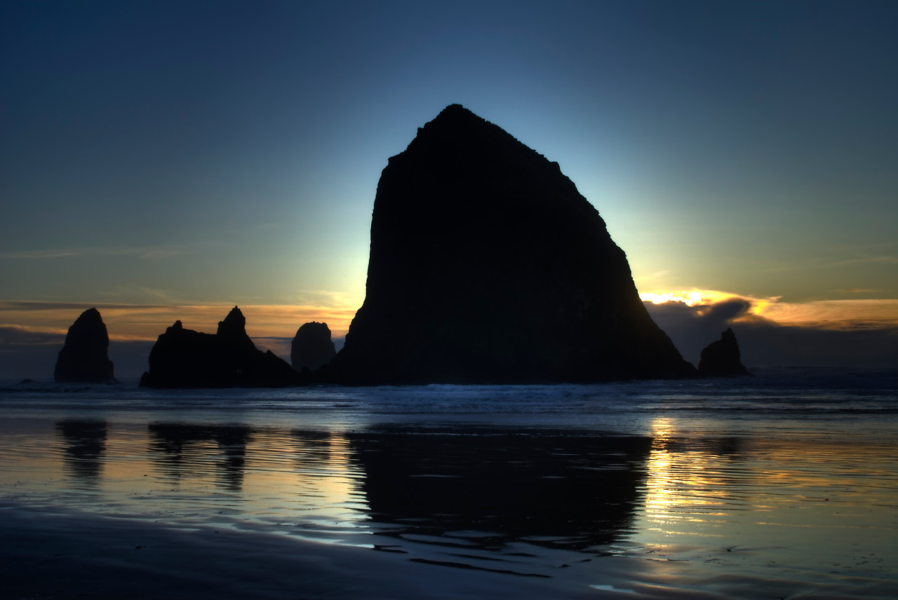 "Haystack Rock<br /> Cannon Beach, Oregon<br /> By Brett Downen<br /> <br /> Float Mounted MetalPrint<br /> Available sizes: 4"" x 6"", 8"" x 12"", 16"" x 24"". 24"" x 36"""