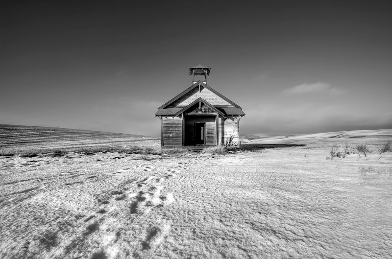 "The Schoolhouse on the Plain<br /> Near Dufur, Oregon<br /> By Brett Downen<br /> <br /> Float Mounted MetalPrint<br /> Available sizes: 4"" x 6"", 8"" x 12"", 16"" x 24"". 24"" x 36"""