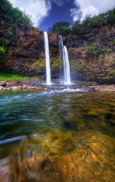 "Wailua Falls HDR<br /> Kauai, Hawaii<br /> By Brett Downen<br /> <br /> Float Mounted MetalPrint<br /> Available sizes: 4"" x 6"", 8"" x 12"", 16"" x 24"". 24"" x 36"""