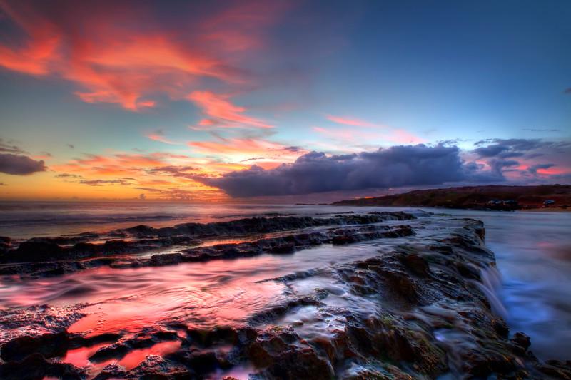 "Burning Sunset<br /> Salt Pond State Park, Kauai, Hawaii<br /> By Brett Downen<br /> <br /> Float Mounted MetalPrint<br /> Available sizes: 4"" x 6"", 8"" x 12"", 16"" x 24"". 24"" x 36"""