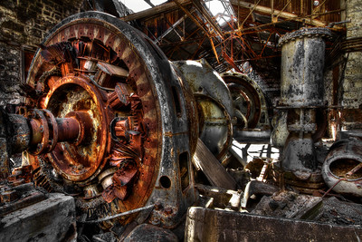 The Abandoned Turbine White River Falls State Park  by Brett Downen