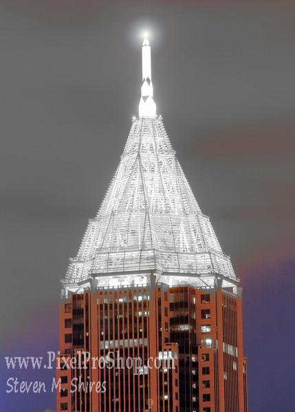 Skyscraper top in Atlanta Ga.  Night Image.