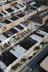 Several blocks of West Baltimore row homes are seen from the door of a Black Hawk helicopter en route to Baltimore for a homeland security exercise on Friday, Sept. 07, 2007. Chris Ammann/Examiner