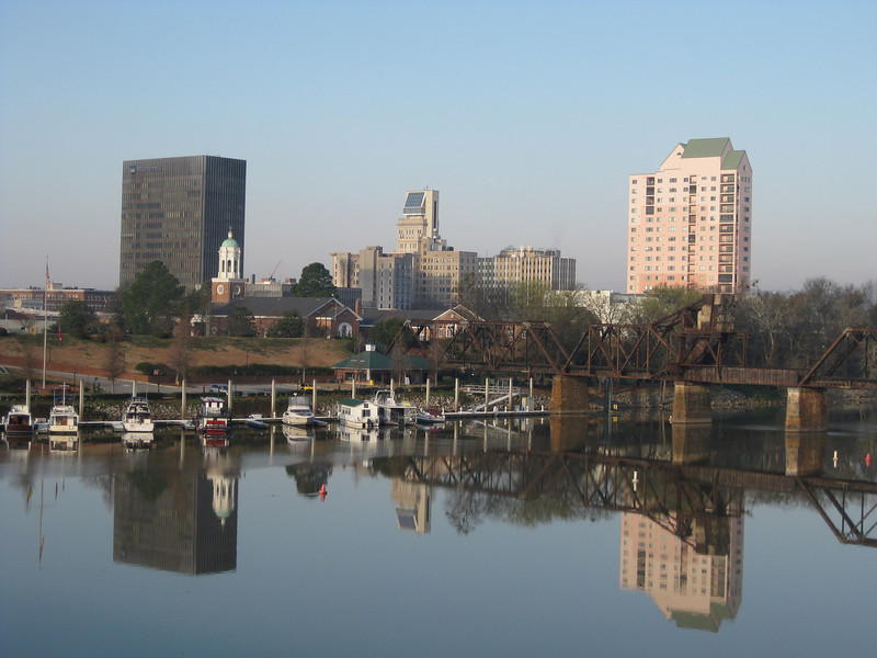 Augusta skyline, from 5th Street Bridge, 3/6/09