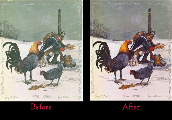 Before & After of Art Restoration of The Fighting Blue Hen painting by E. Paul Catts. Notes: Edges were worn. These were cleaned up using the Clone tool in Photoshop CS5. Color corrected. Contrast corrected. Tone corrected. Vibrance and Saturation tools also used to enhance the painting and bring back original vibrance of when painting was initially completed. You can now see the smoke from the soldier's fire easier and the soldier and hens stand out moreso than original print of painting (approximately 36 years old).  This painting is not available for purchase at this time.