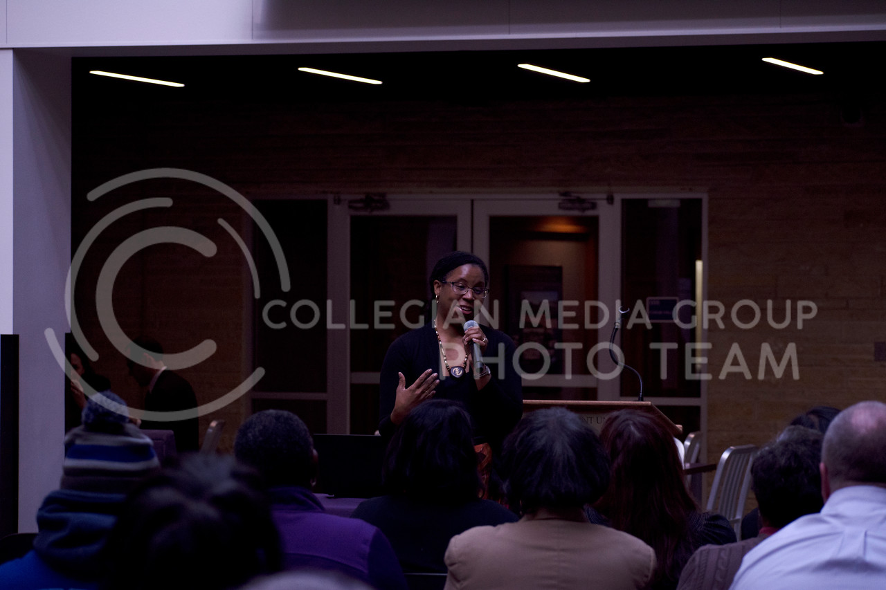 "Tosha Sampson-Choma, Ph.D. presents ""Toni Morrison and Maya Angelou: Promoting the Human Experience through a Black Aesthetic"" at the Fourth Annual Civil Rights Tech-In during K-State's MLK Week 2018 at the Union on January 24, 2018 (Saya Kakim 
