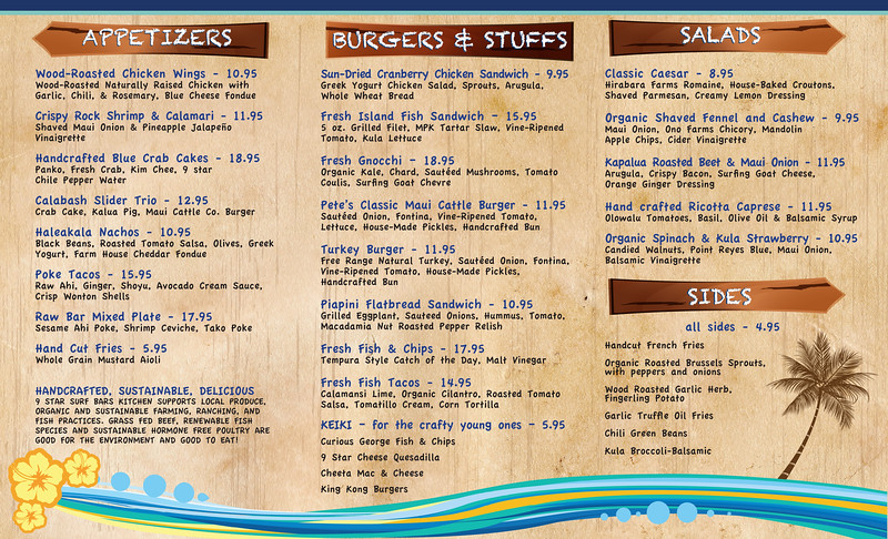 9 Star Surf Bar menu design and illustration, inside of 9 Star menu