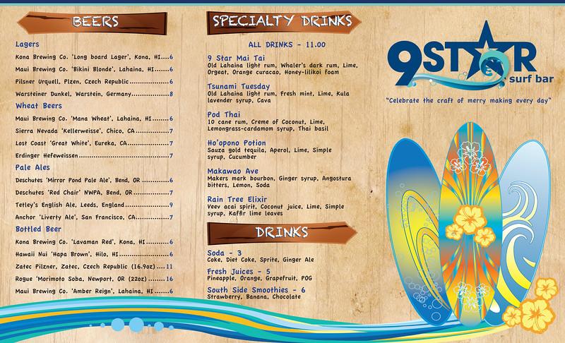9 Star Surf Bar menu design and illustration.