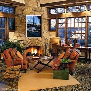 cedar-lodge-fireplace boat
