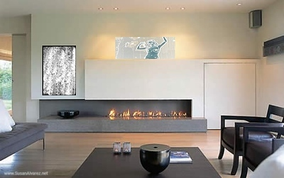 fireplace girl stone black white