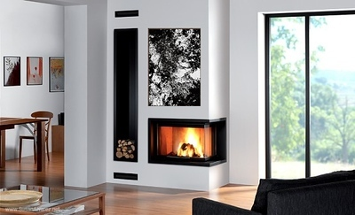 fireplace stone black white