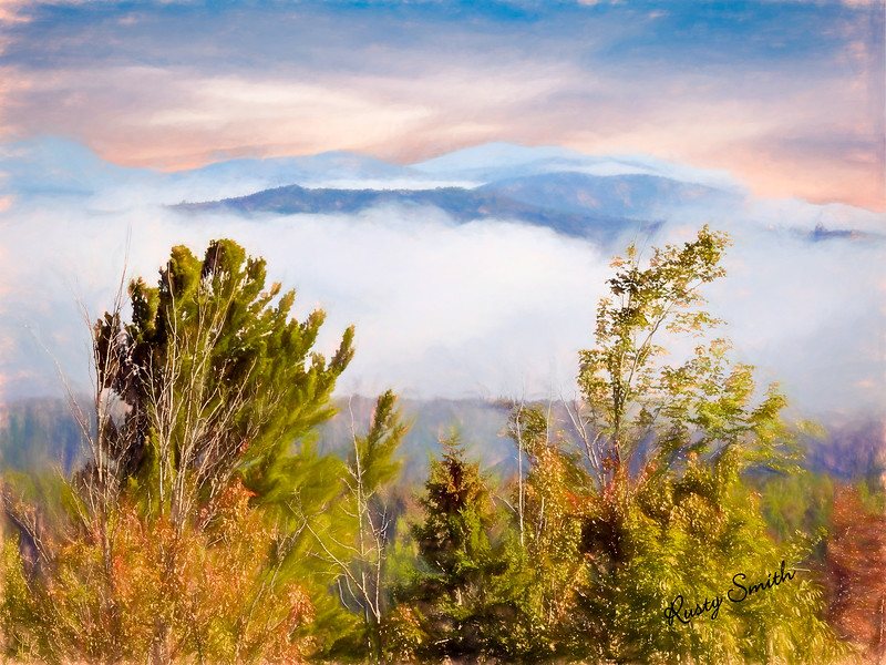 Mountains with morning fog.