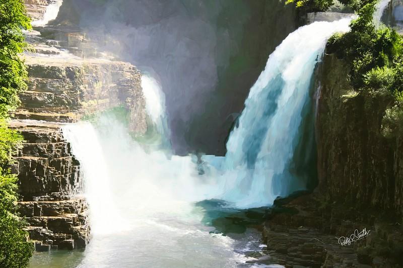 Waterfalls part of High Falls Gorge nature Park Adirondacks,New York.