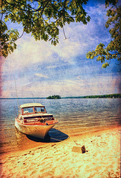 A wooden fishing boat on wild lake.