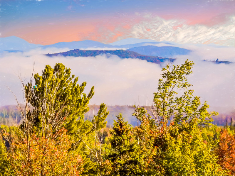 Morning Mountain view northern New Hampshire.