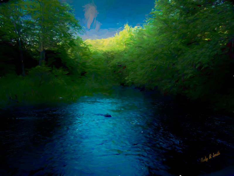 late evening on pristine trout stream.