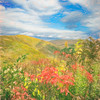 Soft art  photograph. Autumn view of mountains in central Pa. featuring blue skies and fluffy white clouds.