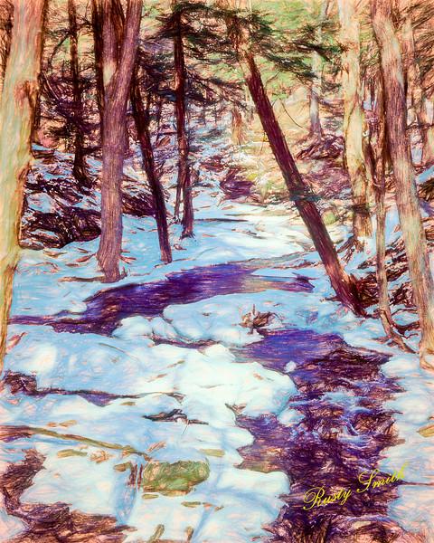 A small stream through winter landscape.