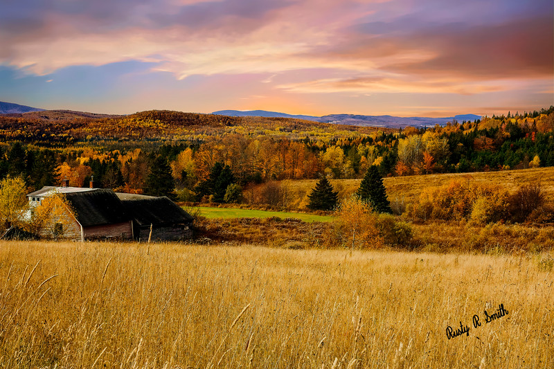 Autumn farm landscape Northern New Hampshire.